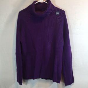 Lands End Large Violet Turtleneck Sweater